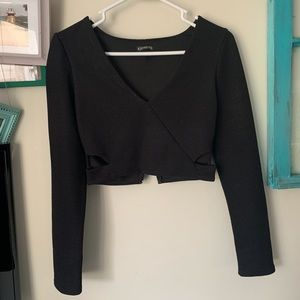 Express long sleeve crop top with side cut outs